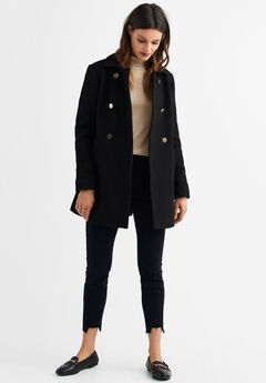 69f8b75f625 Gold Button A-line Wool-Blend Coat by ellos®