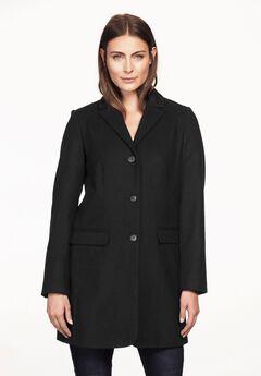Long Wool Blend Blazer by ellos®, BLACK