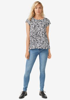 Trapeze Knit Tee by ellos®, WHITE ANIMAL FLORAL