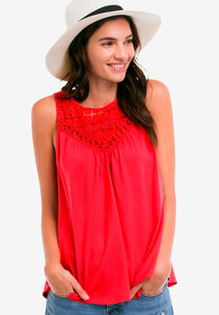 Sleeveless Lace Tank Top by ellos®, HOT RED