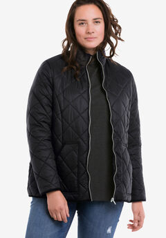 Quilted Zip Front Jacket by ellos®, BLACK