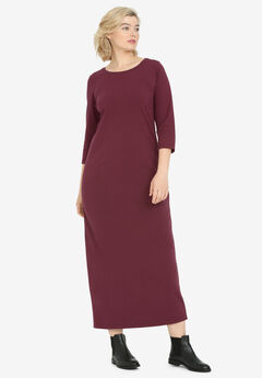 3/4 Sleeve Knit Maxi Dress by ellos®, DEEP WINE
