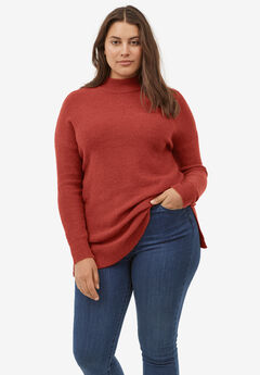 Mockneck Tunic Sweater by ellos®, RED OCHRE
