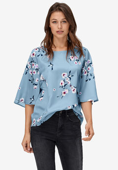 Relaxed Wide Sleeve Blouse by ellos®,