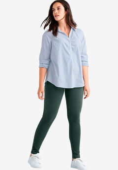 Skinny Knit Pants by ellos®, DEEP EMERALD