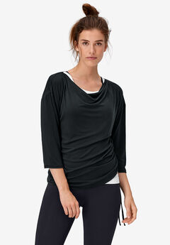 Cowl Neck Sporty Tee by ellos®, BLACK
