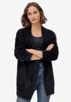 Eyelash Open Cardigan by ellos®, BLACK