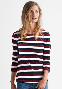 Striped Boatneck Tee by ellos®, RICH BURGUNDY NAVY STRIPE