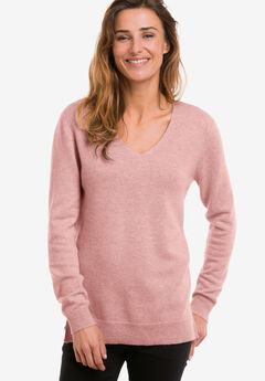 V-Neck Cashmere Pullover Sweater by ellos®,