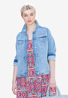 Distressed Denim Jacket by ellos®, LIGHT BLUE DISTRESSED