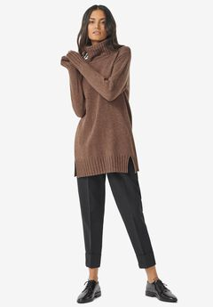 Ribbed Turtleneck Tunic Sweater by ellos®,