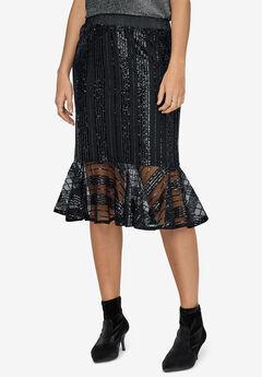 Sequin Flounce Hem Skirt by ellos®, BLACK
