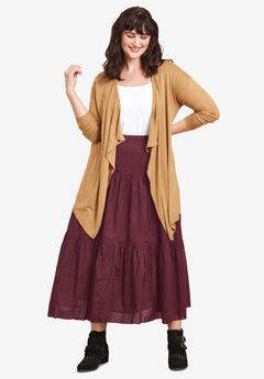 Tiered Crinkle Skirt by ellos®, DEEP WINE