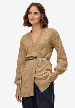 Blouson Sleeve Open Cardigan by ellos®, SOFT CAMEL MARLED
