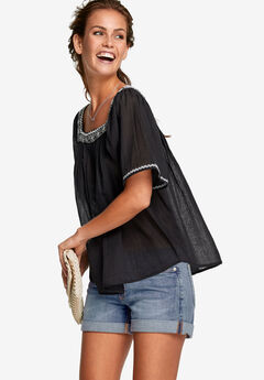 Embroidered Gauze Blouse by ellos®, BLACK