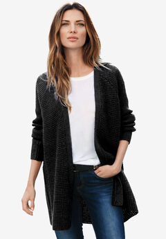 Open Front Waffle Cardigan by ellos®, BLACK