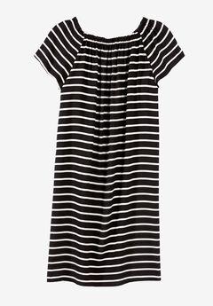 Riviera Woven Dress by ellos®, BLACK WHITE STRIPE