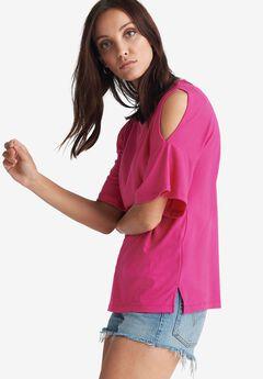 Cutout Shoulder Ribbed Tee by ellos®,