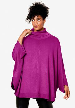 Turtleneck Poncho Sweater by ellos®, DEEP MAGENTA