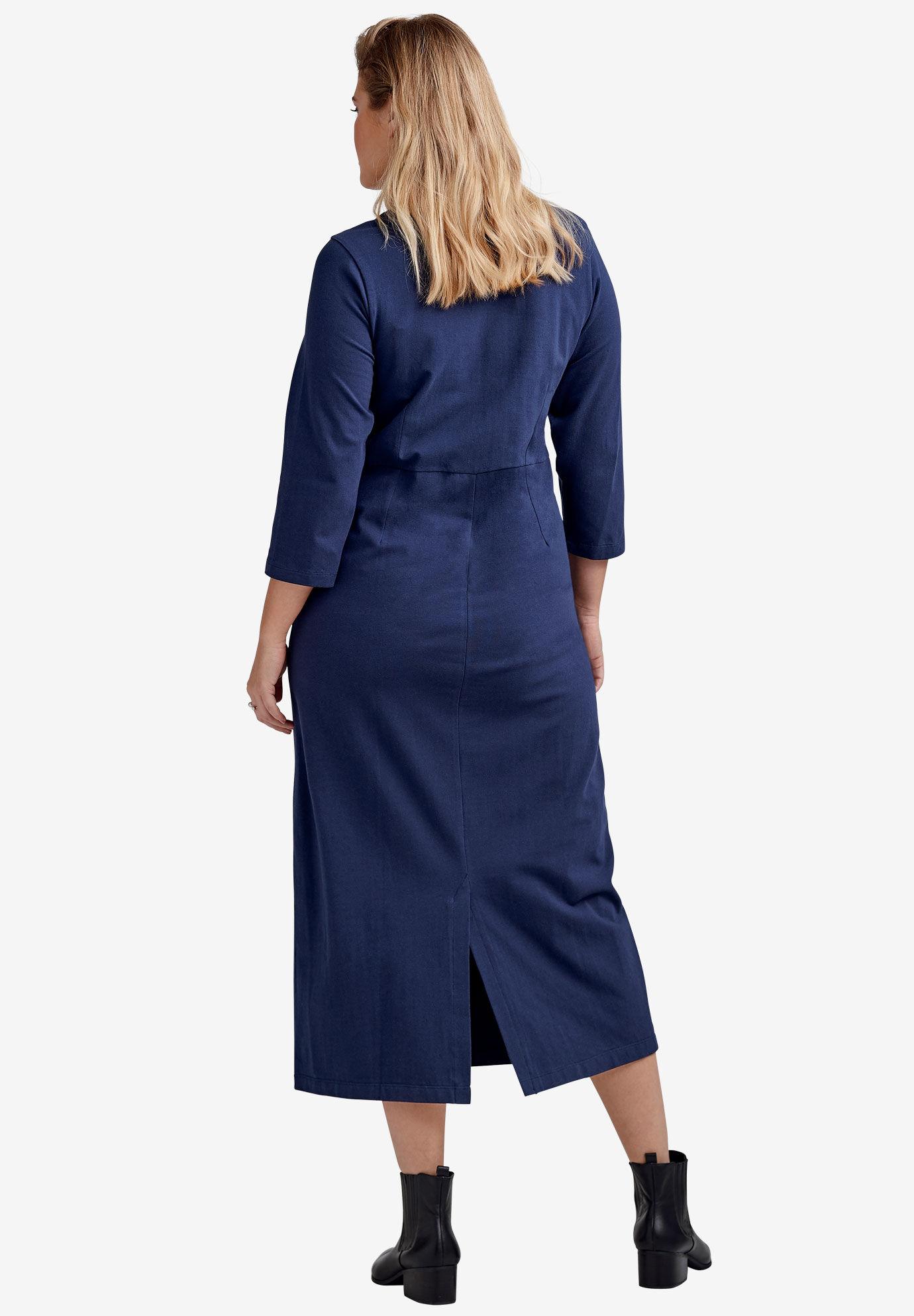 Casual Maxi Dresses Plus Size Dusty Blue