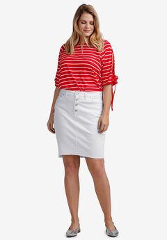 Raw High-Low Hem Denim Skirt by ellos®, WHITE