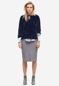 Glitter Rib-Knit Skirt by ellos®, SHADOW GREY