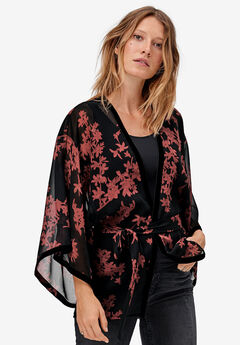 Sheer Belted Kimono by ellos®, BLACK CINNAMON FLORAL