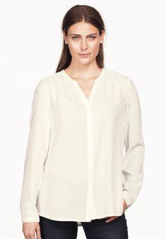 Notch Neck Button Front Blouse by ellos®,