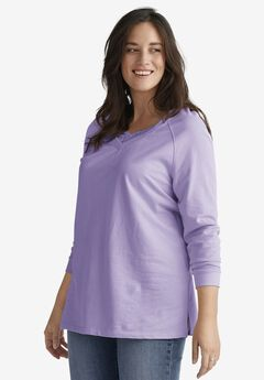Lace-Trim V-Neck Sweatshirt by ellos®,