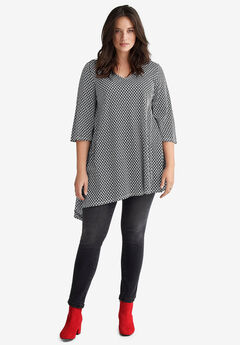Asymmetrical V-Neck Tunic by ellos®,