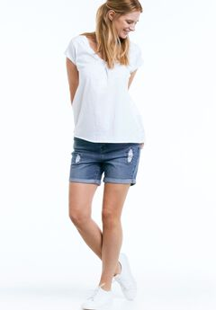 Distressed Denim Girlfriend Shorts by ellos®,