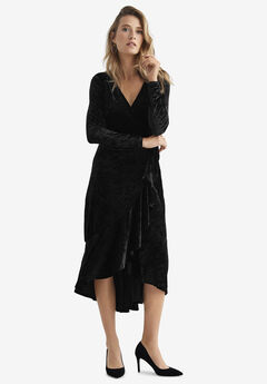 Selina Velvet Wrap Midi Dress by ellos®,