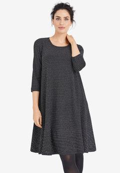 Glitter Knit Dress by ellos®, BLACK SILVER