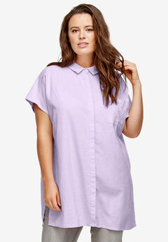 Oversized Linen Blend Tunic by ellos®, PALE LILAC