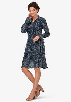 Tiered Elastic Waist Peasant Dress by ellos®, RICH NAVY FLORAL
