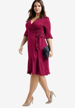 Ruffle Trim Wrap Dress by ellos®, CRYSTAL BERRY