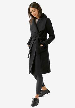 Wrap-Collar Wool-Blend Coat by ellos®, BLACK