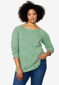 Ballet Neck Cable Front Sweater by ellos®,