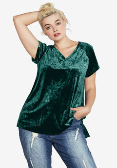 Crushed Velour Tee by ellos®, EMERALD GREEN