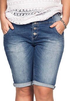 Button-Front Denim Shorts,