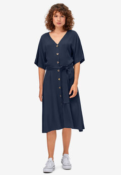 Button-Front Tie-Waist Shirtdress by ellos®, RICH NAVY