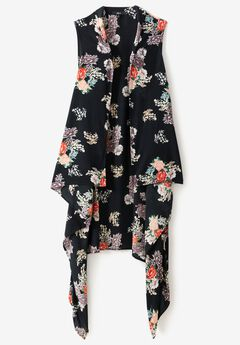 Printed Open Front Duster Vest by ellos®, BLACK ROSE PRINT