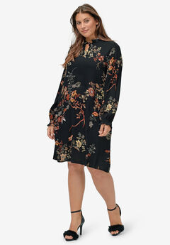 Ruffle Trim Dress by ellos®, BLACK FLORAL PRINT