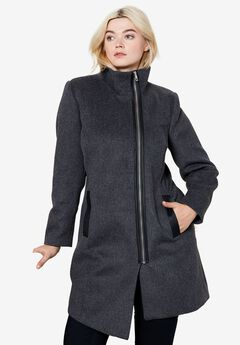 Asymmetrical Zip Wool Blend Coat by ellos®,