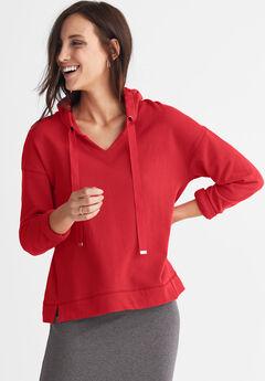 French Terry Ribbon Drawstring Sweatshirt by ellos®, POPPY RED