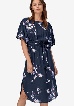 Ballet Neck A-Line Dress by ellos®, NAVY FLORAL PRINT