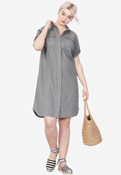 Button Front Linen Shirtdress by ellos®,