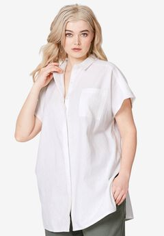 8d953b86f0efb8 Oversized Linen Blend Tunic by ellos®