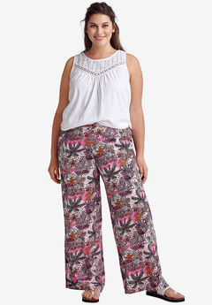 Wide-Leg Soft Pants by ellos®, PINK MULTI PRINT
