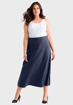 Flared Elastic Waist Skirt by ellos®, NAVY